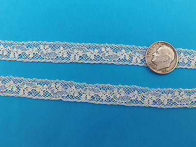 French Cotton Dot Flower Border Heirloom Lace IVORY by the yard 3//8 inch