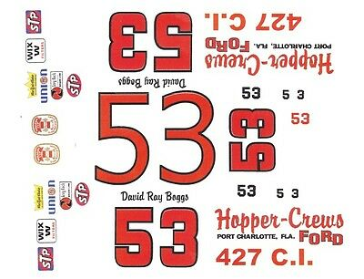 1969-70 TWISTER Mustang or Torino White stripes 1//43rd Scale Slot Car Decals