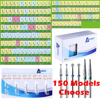 200pcs (5Pcs/Pack) AZDENT Dental High Speed Diamond Bur Drill 150 Types Optional
