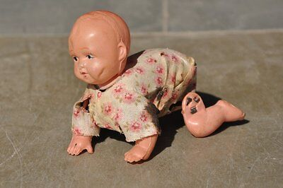 Rare Vintage Crawling / Toddler Wind Up Baby Celluloid Toy, Japan