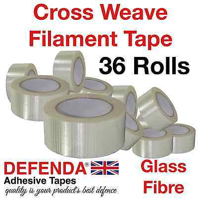 36 x Cross Weave Reinforced Tapes 50m x 50mm X Weave Packing Glass Filament Tape