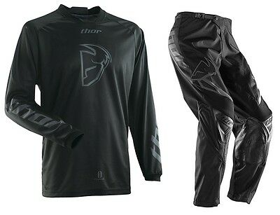 New 36 XL Thor Phase Black Out Jersey Pants Kit Motocross Enduro