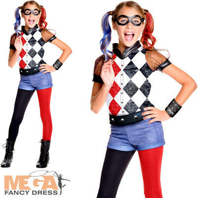 Deluxe Harley Quinn Girls Fancy Dress DC Comic Book Day Supervillain Kid Costume