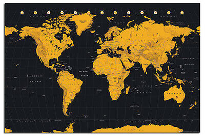 World Map In Black & Gold Poster New - Maxi Size 91.5 x 61cm