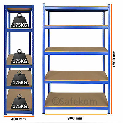 5 Tier Boltless Industrial Racking Garage Shelving Storage Shelve Heavy Duty New