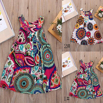 Summer Baby Kids Girls Dress Flower Party Princess Casual Dresses Skirts 2-7Y