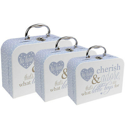 Set of 3 Baby Bottle Poem Travel Handheld Carry Cases Storage Container Blue New
