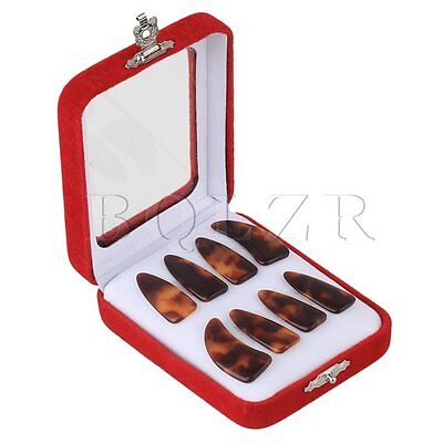 8PCS Large Size Guzheng Finger Thumb Picks Brown and Orange with Grooves