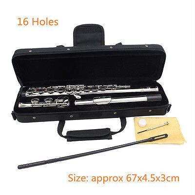 New 16 Closed Holes C Key Tone Flute with Case Cloth Screwdriver HT