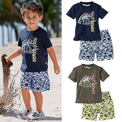 2Pcs Toddler Kids Boys Clothes Dinosaur T-shirt + Shorts Summer Beachwear Outfit