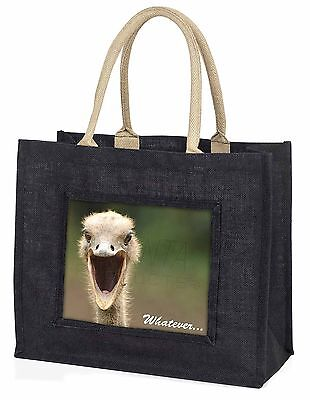 Ostritch with 'Whatever' Large Black Shopping Bag Christmas Present I, AB-OS2BLB