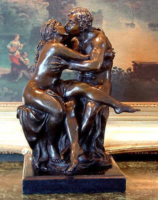Wedding Gift Male Female Nude Kissing Lovers Bronze Marble Statue  Romantic Art
