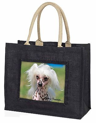 """Chinese Crested Dog """"Yours Forever..."""" Large Black Shopping Bag Chr, AD-CHC4yBLB"""