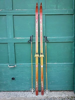 """A Very Interesting Vintage Wooden 79"""" Long Skis RED Finish Signed STRELA"""