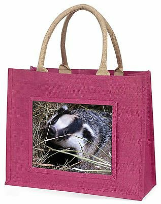 Badger in Straw Large Pink Shopping Bag Christmas Present Idea, ABA-1BLP