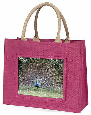 Colourful Peacock Large Pink Shopping Bag Christmas Present Idea, AB-PE76BLP