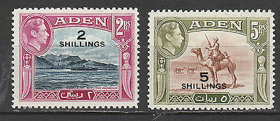 Aden 1951 Kgvi Pictorial Surcharge 2/- And 5/-