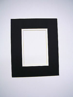 PICTURE FRAMING DOUBLE Mat 8x10 for 4x6 photo black with white liner ...