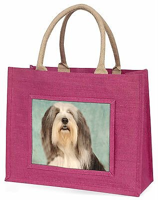 Bearded Collie Dog Large Pink Shopping Bag Christmas Present Idea, AD-BEC1BLP