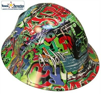 New! Hydro Dipped FULL BRIM Hard Hat w/ Ratchet Suspension - Graphiti Print