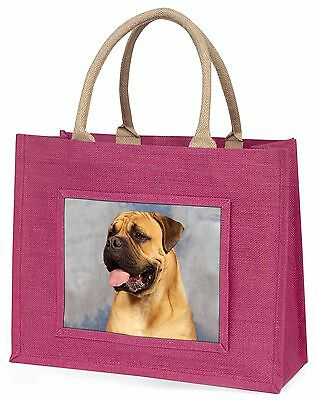 Bullmastiff Dog Large Pink Shopping Bag Christmas Present Idea, AD-BMT1BLP