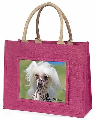 """Chinese Crested Dog """"Yours Forever..."""" Large Pink Shopping Bag Chri, AD-CHC4yBLP"""