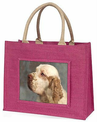 Clumber Spaniel Dog Large Pink Shopping Bag Christmas Present Idea, AD-CS1BLP