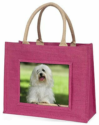 Havanese Dog Large Pink Shopping Bag Christmas Present Idea, AD-H66BLP