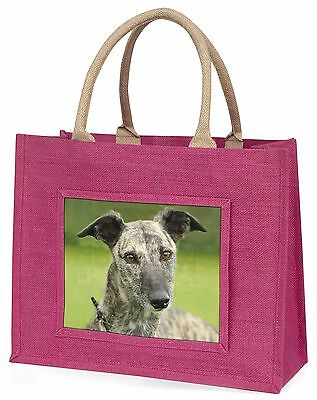 Lurcher Dog Large Pink Shopping Bag Christmas Present Idea, AD-LU7BLP