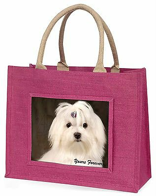Maltese Dog 'Yours Forever' Large Pink Shopping Bag Christmas Present, AD-M1yBLP