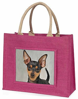 Miniature Pointer Dog Large Pink Shopping Bag Christmas Present Idea, AD-MP1BLP