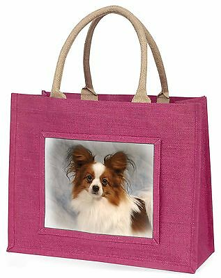 Papillon Dog Large Pink Shopping Bag Christmas Present Idea, AD-PA1BLP