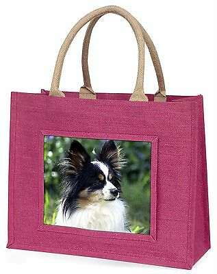 Papillon Dog Large Pink Shopping Bag Christmas Present Idea, AD-PA62BLP