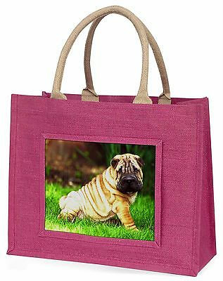 Cute Shar-Pei Dog Large Pink Shopping Bag Christmas Present Idea, AD-SH1BLP