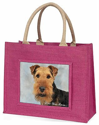 Welsh Terrier Dog 'Love You Mum' Large Pink Shopping Bag Christmas, AD-WT1lymBLP