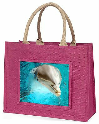 Dolphin Close-Up Large Pink Shopping Bag Christmas Present Idea, AF-D5BLP