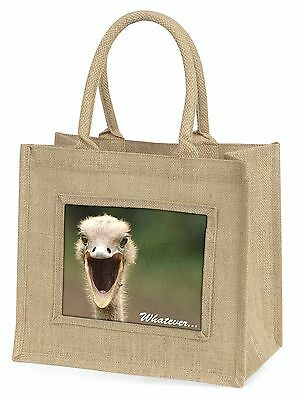 Ostritch with 'Whatever' Large Natural Jute Shopping Bag Christmas Gi, AB-OS2BLN
