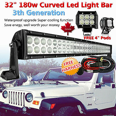 "32inch Curved LED Light Bar Work Combo +2x 4"" CREE Pods Offroad SUV 4WD Truck 30"