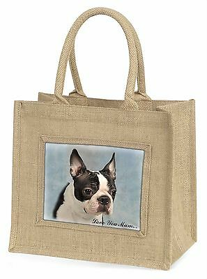 Boston Terrier Dog 'Love You Mum' Large Natural Jute Shopping Bag , AD-BT8lymBLN