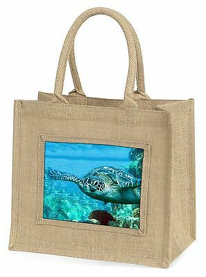 Turtle by Coral Large Natural Jute Shopping Bag Christmas Gift Idea, AF-T20BLN