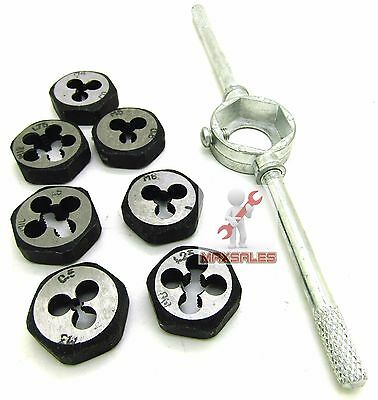 8 pc Thread Die Set and Tap Wrench Handle Cutting Tool METRIC