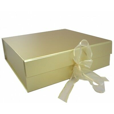 12 x GOLD Luxury Keepsake Magnetic Gift Box With Ribbon Tie 209mm 220mm 60mm