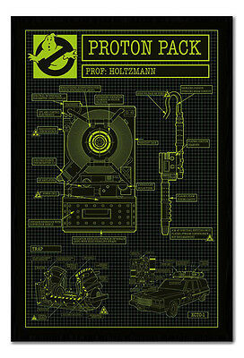 Framed Ghostbusters 3 Proton Pack Poster New