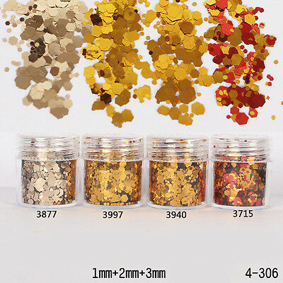 10ml/Box Nail Art Glitter Powder Mixed Agate Gold Tips Sequins DIY 1-3mm