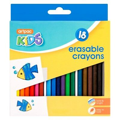 18 x Kids Erasable Crayons Vibrant Less Mess Arts & Crafts Drawing Colouring
