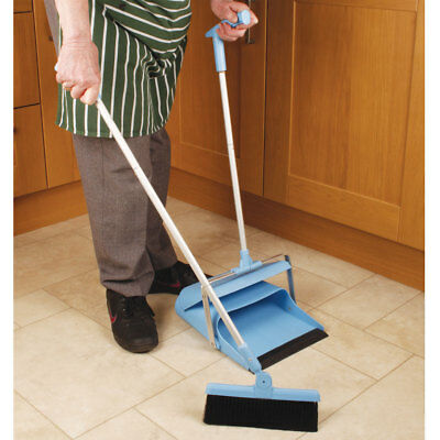 Heavy Duty Long Handled Dustpan & Brush Sweeper With Large Dustpan Compartment