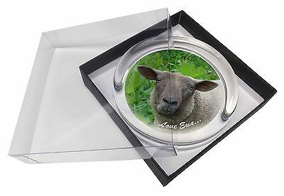 Sheep 'Love Ewe' Sentiment Glass Paperweight in Gift Box Christmas Pre, ASH-20PW