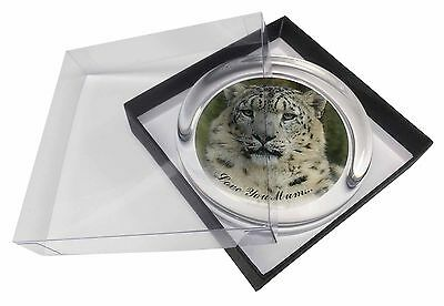 Snow Leopard 'Love You Mum' Glass Paperweight in Gift Box Christmas , AT-47lymPW