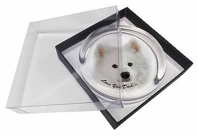 Samoyed 'Love You Dad' Sentiment Glass Paperweight in Gift Box Christ, DAD-116PW
