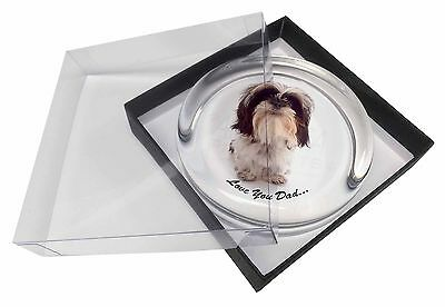 Shih-Tzu 'Love You Dad' Glass Paperweight in Gift Box Christmas Prese, DAD-124PW